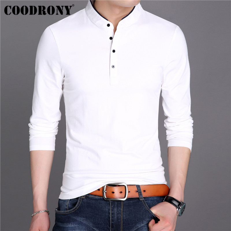 COODRONY T Shirt Men Streetwear Fashion Tshirt Men Clothes 2019 Autumn Mandarin Collar T-Shirt Men Cotton Tee Shirt Homme 95023