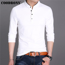 COODRONY T Shirt Men Streetwear Fashion Tshirt Clothes 2019 Autumn Mandarin Collar T-Shirt Cotton Tee Homme 95023