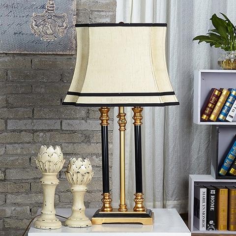 retro resub espacados pilar lamparas de mesa abajur com tecido abajur desk luz luminaria para