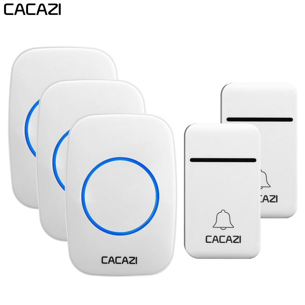 CACAZI No Battery Required Home Wireless Doorbell Self-Powered 200M Remote Waterproof Calling Bell 2 Button 3 Receiver US PlugCACAZI No Battery Required Home Wireless Doorbell Self-Powered 200M Remote Waterproof Calling Bell 2 Button 3 Receiver US Plug