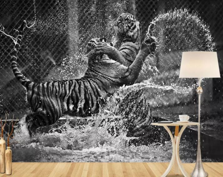 Us 1161 57 Offcustom European Modern Wallpapers For Living Room Abstract Minimalist Art Black And White Tiger Tv Background Wall 3d Wallpaper In