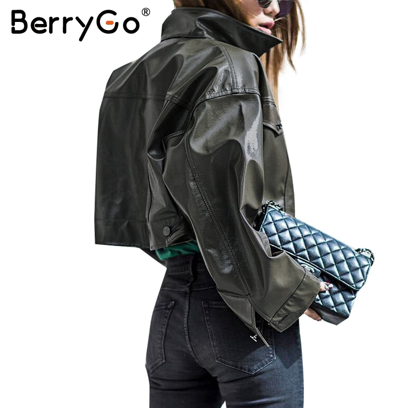 BerryGo Green pocket   basic     jacket   Fashion autumn women PU leather   jacket   coat female Casual button outerwear faux leather coat