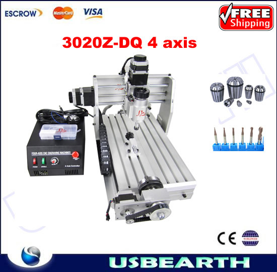 CNC 3020Z-DQ 4 axis router,upgraded from cnc 3020,CNC engraving machine 3020 Z-DQ rotary axis with collet and drills as gift cnc 5axis a aixs rotary axis t chuck type for cnc router cnc milling machine best quality