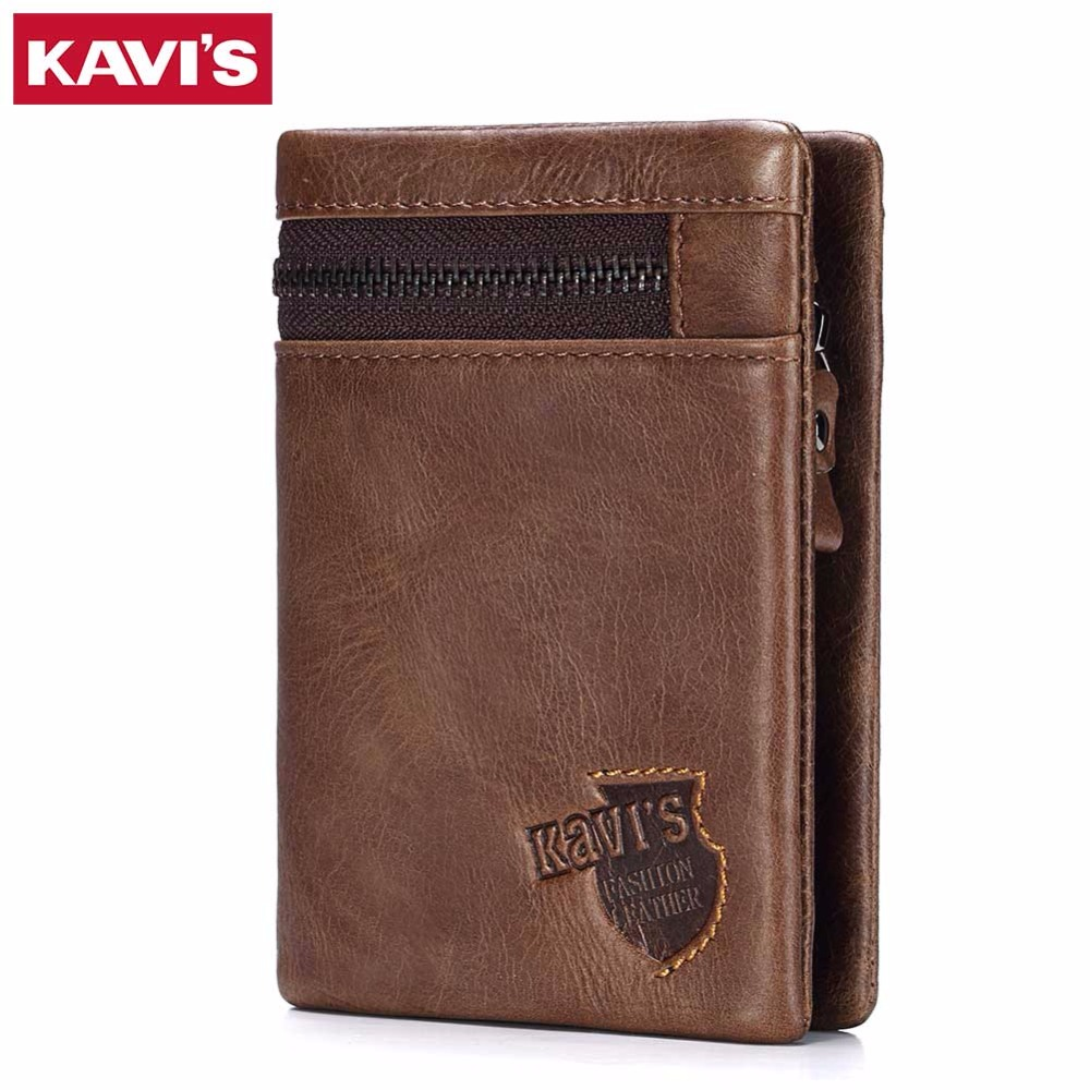 KAVIS Brand Crazy Horse Genuine Leather Wallet Men Coin Purse Card Holder Male Money Bag Portomonee Small Walet Perse With Rfid