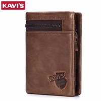 KAVIS Brand Crazy Horse Genuine Leather Wallet Men Coin Purse Card Holder Male Money Bag Portomonee