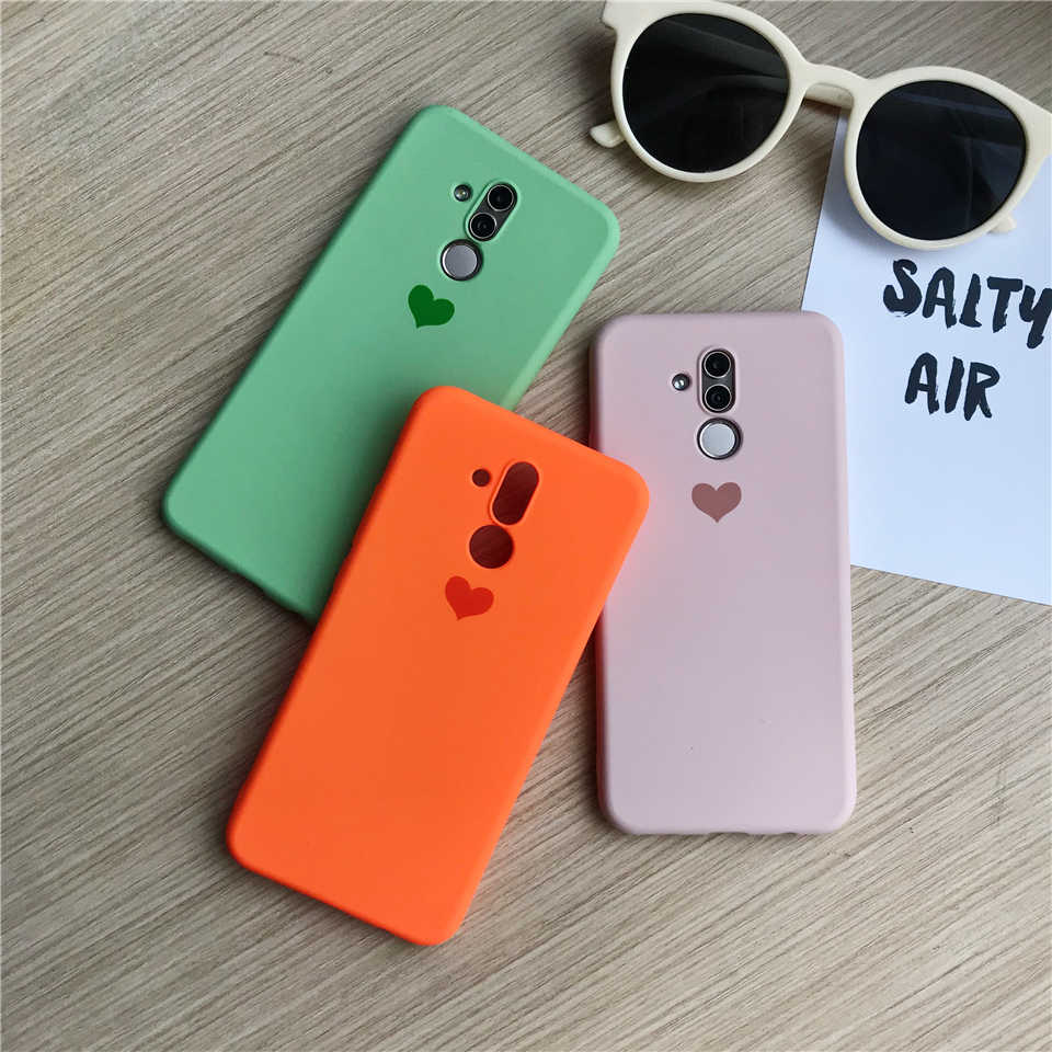 Cute Love Heart Print Sand Texture Phone Cases For Huawei Mate 20 Lite 10 9 P30 Pro P20 P10 Nova 4 Cover Silicone TPU Soft Case
