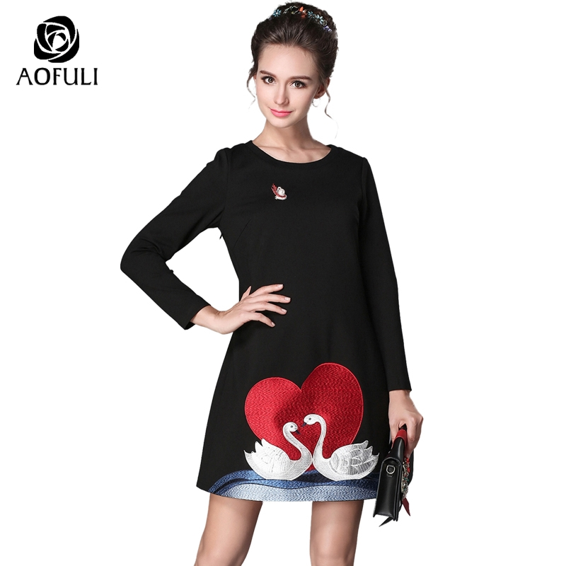 S 4XL 5XL Love Swan Embroidery Dress With Pearls Corsage Black Long Sleeve A line Dress