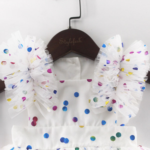 Image 3 - ฤดูร้อนเด็กสีชมพูBodysuitเสื้อผ้าเด็กHot Stampedหน้าจอเส้นด้ายผ้าฝ้ายสามเหลี่ยมHairdressเด็กBodysuits