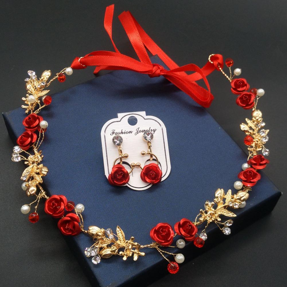 Fashion Rose Rhinestone Ribbon Women Hairband + Earrings Wedding Jewelry Set top quality