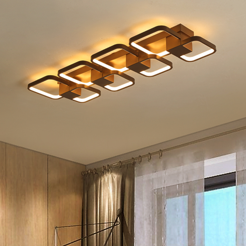 Rectangle Modern LED Ceiling Lights For Livingroom Bedroom plafond brown color Simple art Ceiling Lamp home lighting Fixtures rectangle remote control led ceiling lights for livingroom dining bedroom ceiling lamp home lighting lamparas de techo plafond