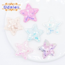 24Pcs Glitter Cute Star Patches Apparel Sewing Appliques Material Patches for Clothing Garment Decoration DIY Patches Supplies