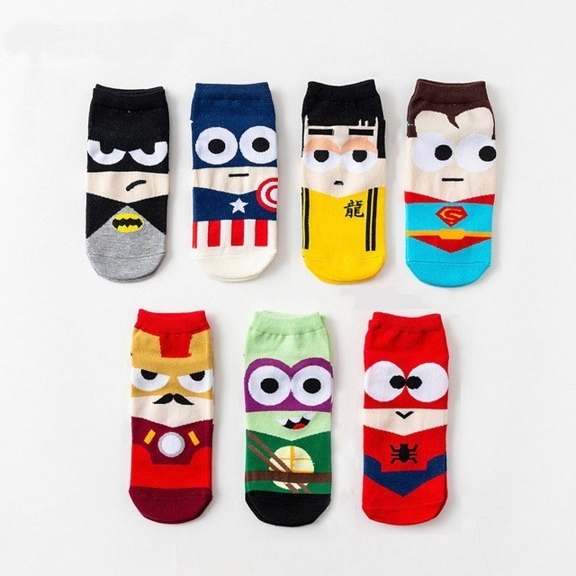 2019 Super Hero 1 Pair Cartoon Children Teenagers Short Socks Boys Kids Men America Captain Adult Boat Sock Spiderman Cartoon