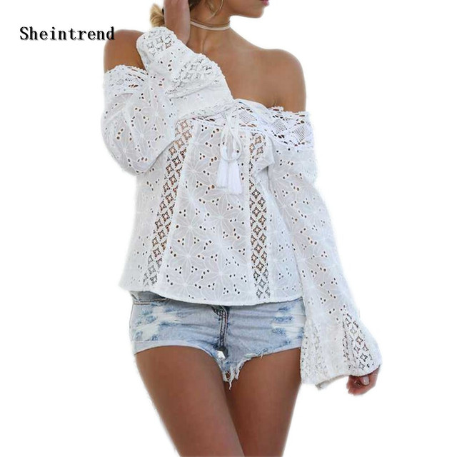 e9c8bab375 Sheintrend 2018 Women White Blouses Plus Size Lace Off Shoulder Blouse  Shirts Casual Tassel Bandage Sexy Sexy Chemise Blusas Top