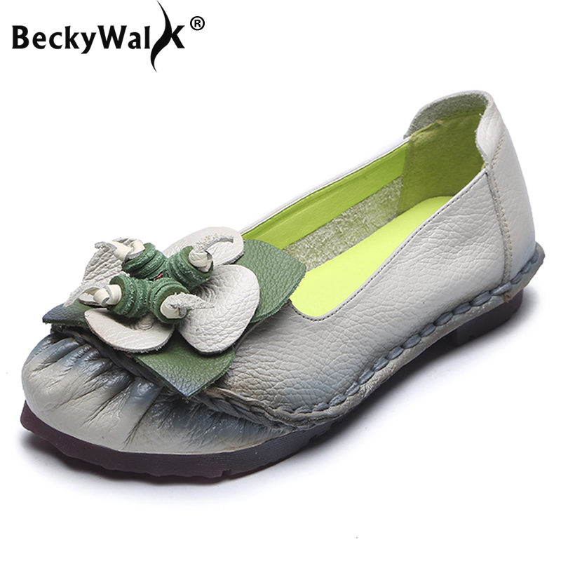 BeckyWalk Women Flower Summer Moccasins Casual Shoes High Quality Female Ballet Flats Genuine Leather Loafers Shoes WSH2942BeckyWalk Women Flower Summer Moccasins Casual Shoes High Quality Female Ballet Flats Genuine Leather Loafers Shoes WSH2942