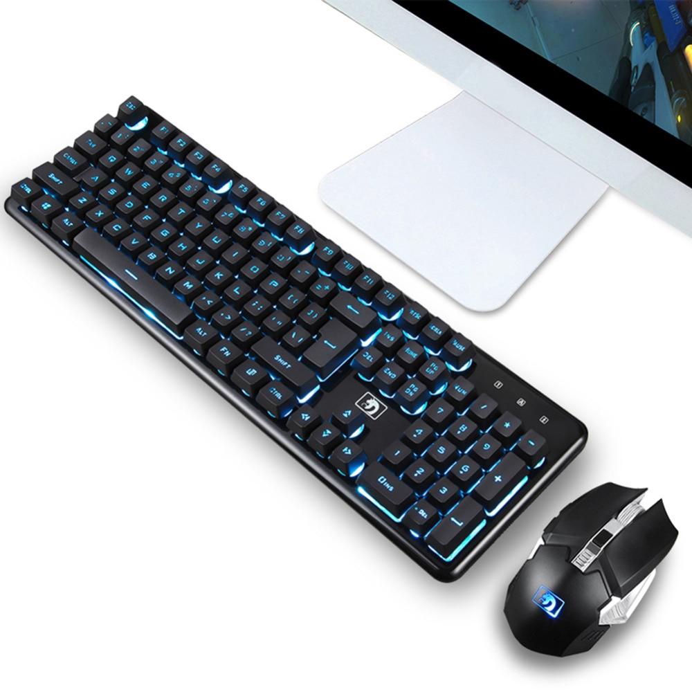 Clavier sans fil rechargeable souris Gamer clavier ensembles ergonomique jeu 2.4G illuminé 104 touches clavier souris ensemble pour Mac ordinateur portable