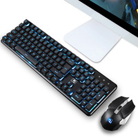 Wireless Keyboard Mouse PC Gamer Laptop Keypad Sets Ergonomic Gaming 2.4G Illuminated 104 Keys Keyboard Mouse Set for Mac Laptop