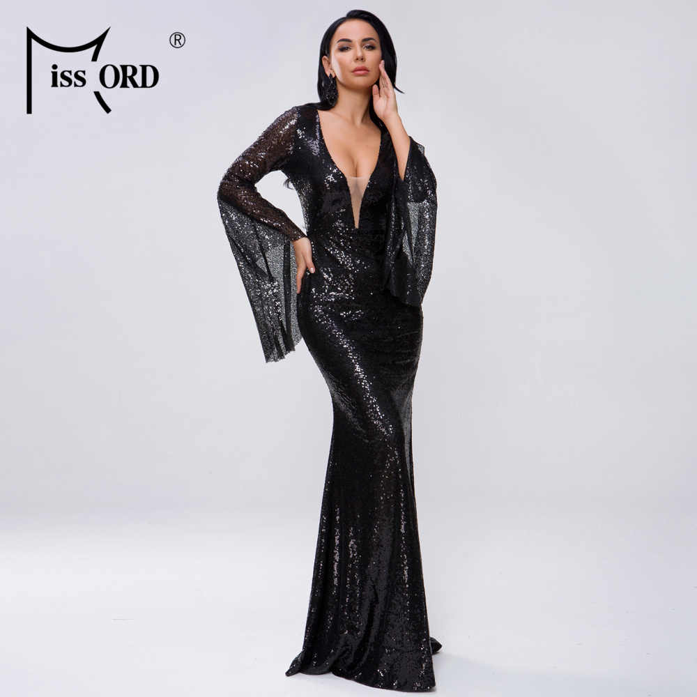 Missord 2019 נשים סקסי עמוק V ארוך אבוקה שרוול נצנצים נשי מוצק מקסי אלגנטי מסיבת שמלת Vestdios FT18731-3