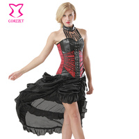 Women's Sexy Steampunk Gothic Corset Faux Leather Black Plus Size Overbust Bustiers Slim Victorian Burlesque Costume Skirt