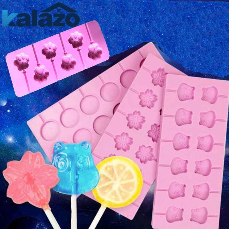 Diy for MT paw shape lollipop mold 12 cherry blossom star lollipop mold  silicone mold