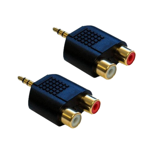 DHDL-2x RCA Phono Female to 1x 3.5mm Male Jack Audio Adapter 1 8m 4 5cm 7 6cm rca male to single rca female single phono audio composite extension cable for dvd players tvs fw1s