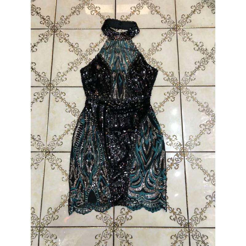 Noir En Sequin Robe Mode Partie Sans Robes 2018 Soirée Date Vert De Femmes Moulante Manches Gros Patchwork Mini Et xwqtIYHTI
