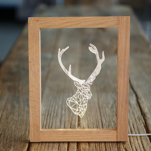 nordic creative deer antler lamp nightlight creative birthday gift deer lamp ikea wood frame