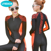 2017 New Women Wetsuit Zipper One Piece Swimsuit Long Sleeve Rashguard Diving Suit For Swimming Surfing