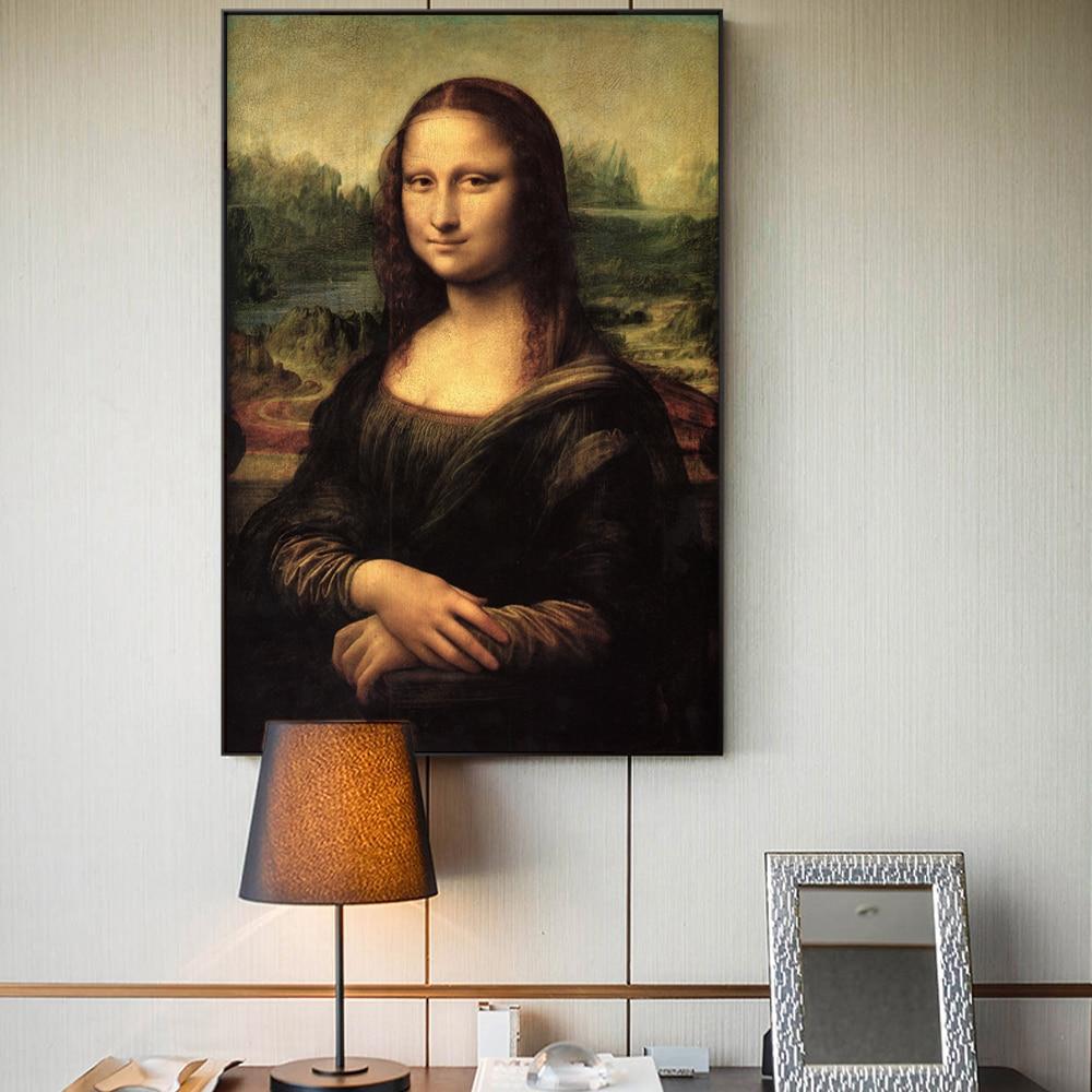 Smile Of Mona Lisa Portrait Canvas Art Painting Reproductions Classical Da Vinci Famous Art Prints For Living Room Cuadros Decor