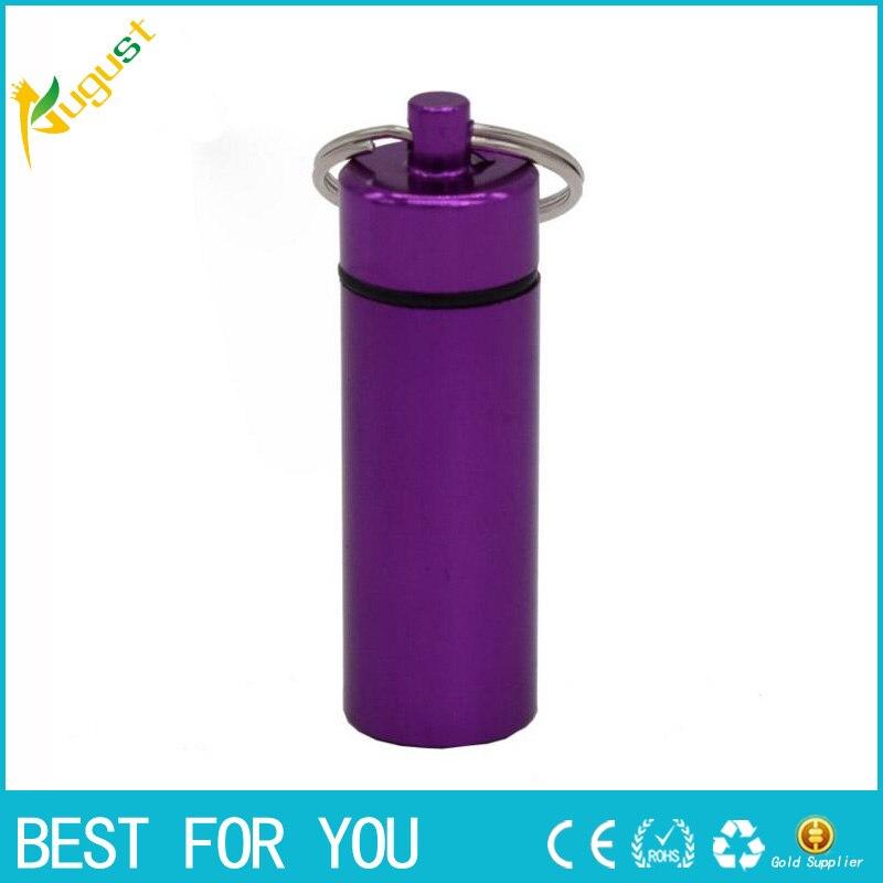 1pc Stash Pill box case medicine 18*60mm Storage Keychain Bottle Keyring Key metal Aluminum Waterproof Pill Bottle Container