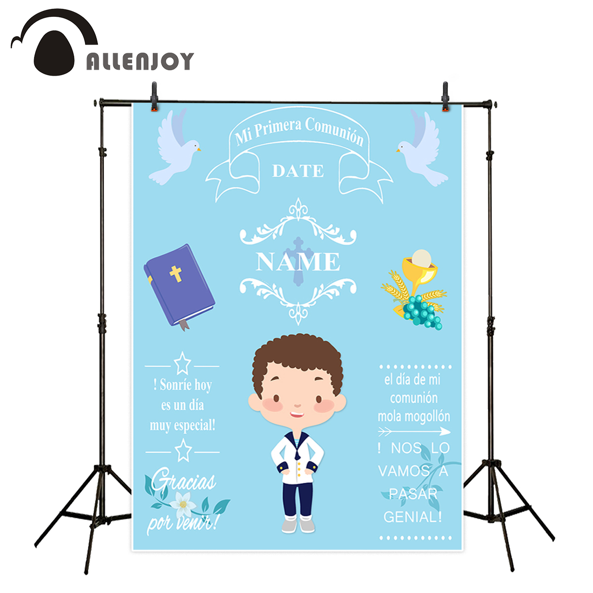 Allenjoy backgrounds for photography studio blue little boy My first holy communion customize backdrop original design photocall allenjoy backdrop spring background green grass light bokeh dots photocall kids baby for photo studio