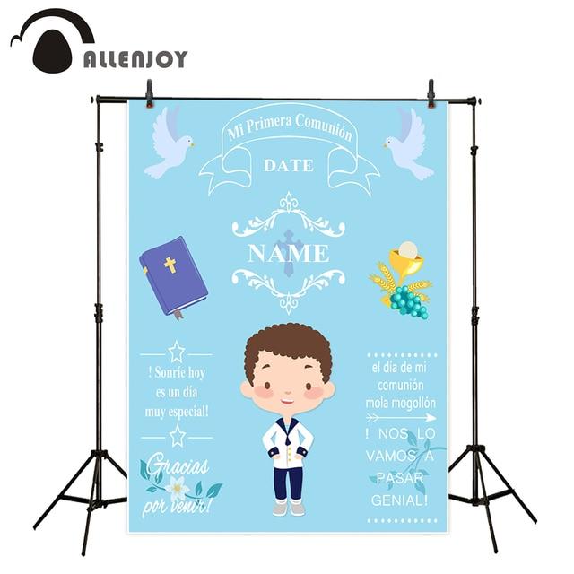 사진 스튜디오에 대 한 Allenjoy 배경 파란색 작은 소년 첫 번째 성령 성 찬 식 장식 배경 디자인 photocall 사용자 지정