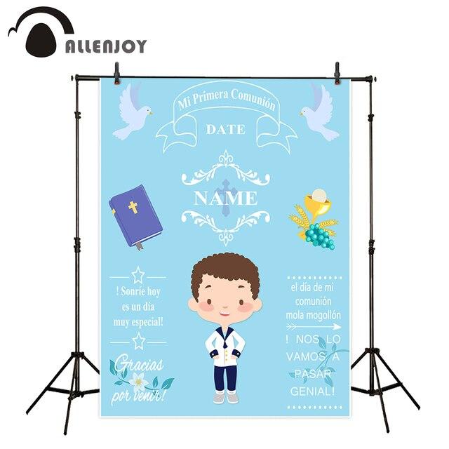 خلفيات Allenjoy للتصوير بالاستوديو الأزرق ليتل بوي الأولى المقدسة بالتواصل الديكور تخصيص خلفية تصميم فوتوكورد