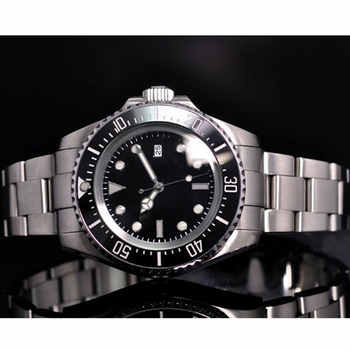 Solid 44mm Black Sterile Dial Stainless Steel Case Luminous Marks Ceramic Bezel Luxury Brand Automatic Movement Men's Watch P65
