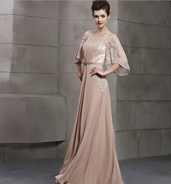 Robe De Soiree Chiffon Formal Evening Gowns Scoop A Line Loose Half