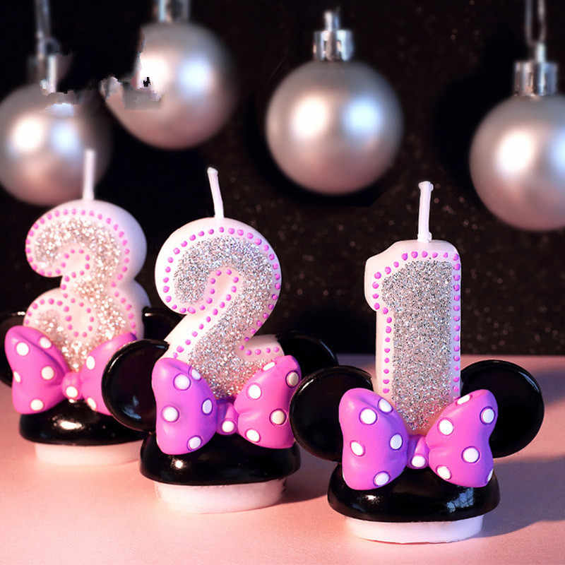 Birthday Figure Number Candle Pink Bowknot Mickey Minnie Candle Girl Baby Kid Child Birthday Anniversary Candle Handmade Scent