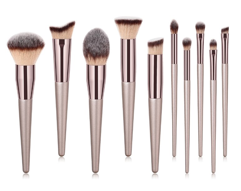 Champagne Makeup Brushes Set  Eyeshadow Foundation Eyeliner Lip Highlighter Brush Make Up Brush Beauty Cosmetics Tools