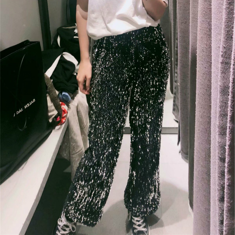 HOUZHOU Summer Fashion High Waist Trousers Black Sequins Patchwork Straight   Pants   Famale Elastic Waist Casual Loose   Pants