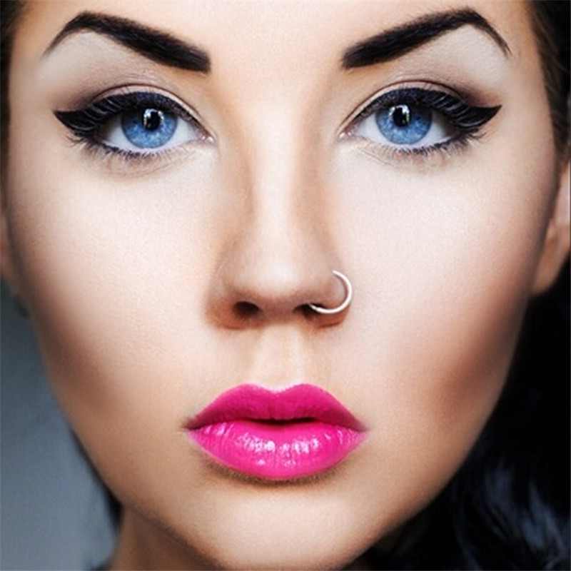 Medical Titanium Gold Silver Nose Hoop Nose Rings clip on nose