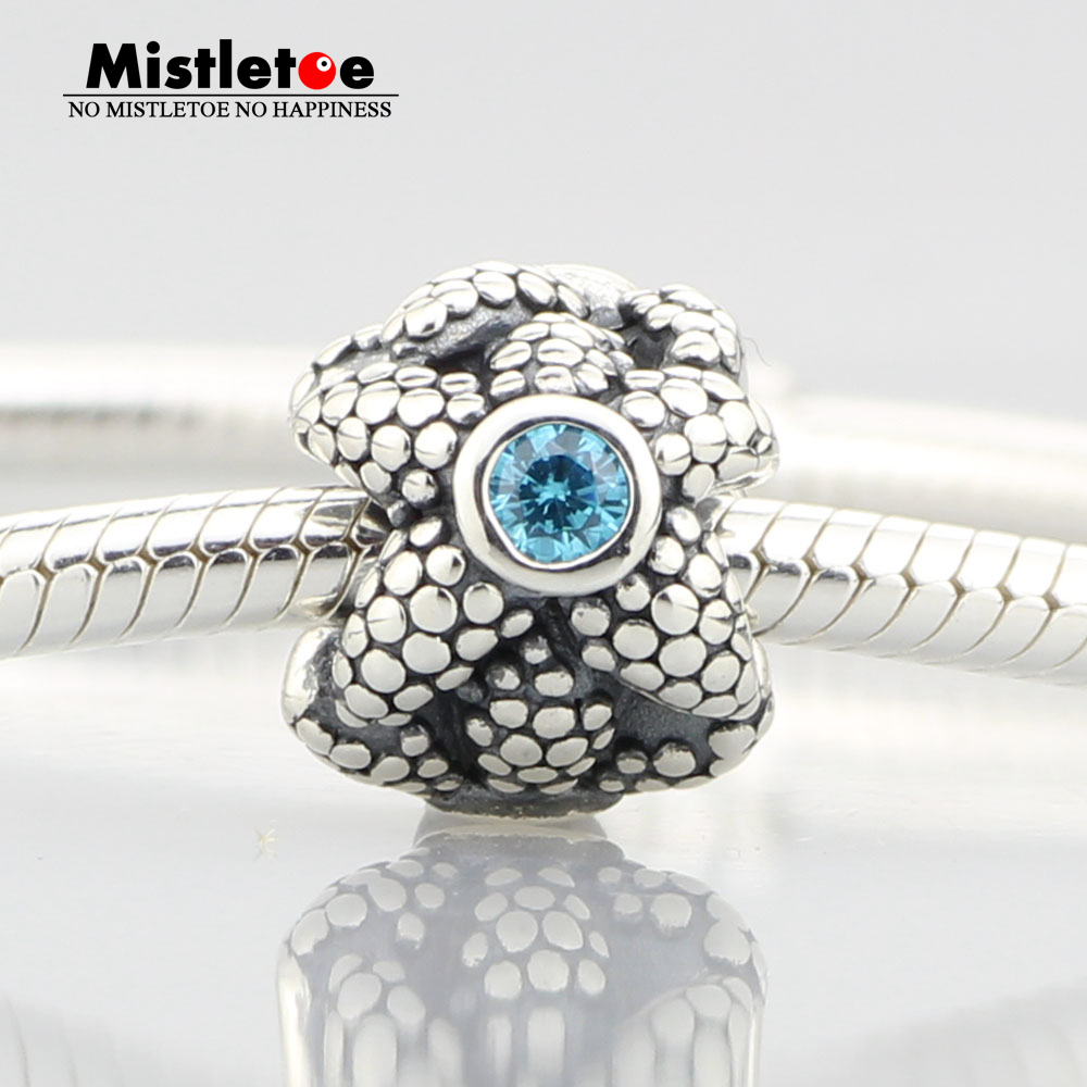 Authentic 925 Sterling Silver Sea Star Turquoise Synthetic Spinel Charm Starfish Blue CZ Bead Fit Pandora