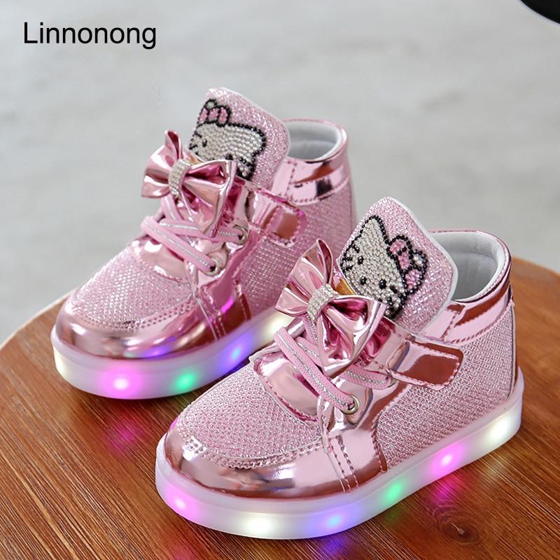 2016 Новый Дешевый Весна Осень Зима детские Кроссовки Дети Shoes Chaussure Enfant Hello Kitty Девушки Shoes With LED Light