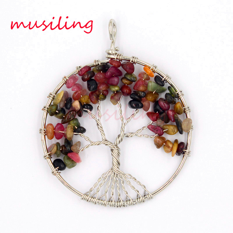 7 Stone Tree of Life Pendant Natural Stone Pendulum Accessories European Fashion Jewelry Wicca Witch Women Men Amulet 10pcs in Pendants from Jewelry Accessories