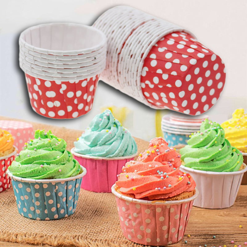 100pcs Cupcake Paper Cups Wrapper Cake Cup Baking Stand Cookie Cakes Decorating Tools Kitchen Accessories Reposteria