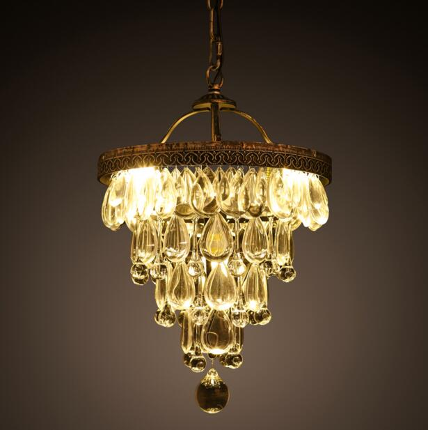 American Village Personality Creative Crystal Drop Pendant Lamp Retro Restaurant Living Room Hotel Art Decorative Pendent Light personality advocates lighting american pastoral high foot glass creative pendant lamps hotel bar lamp dining room living gy159