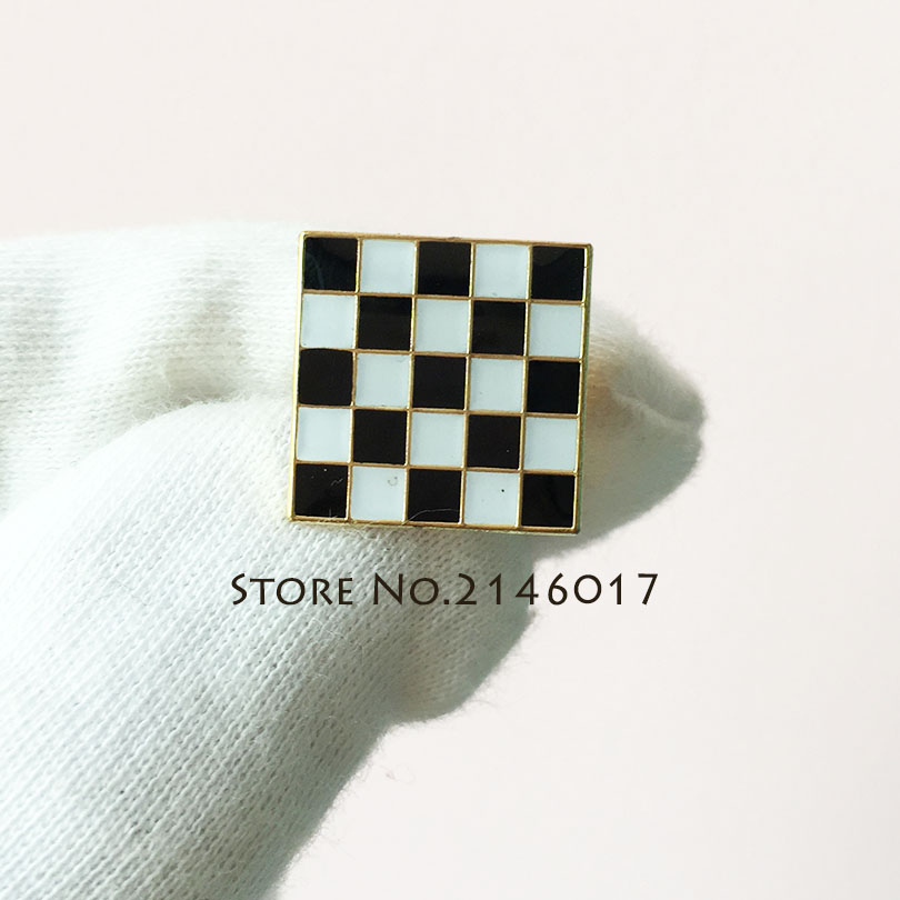 Masonic Checkered Rug: 15mm Masonic Black White Checkered Rug Floor Brooch Blue