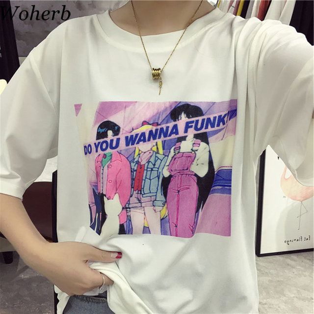 f6250c1a Woherb Harajuku T Shirt Women Loose Cotton T-shirt Print Cartoon Sailor  Moon 2019 Summer