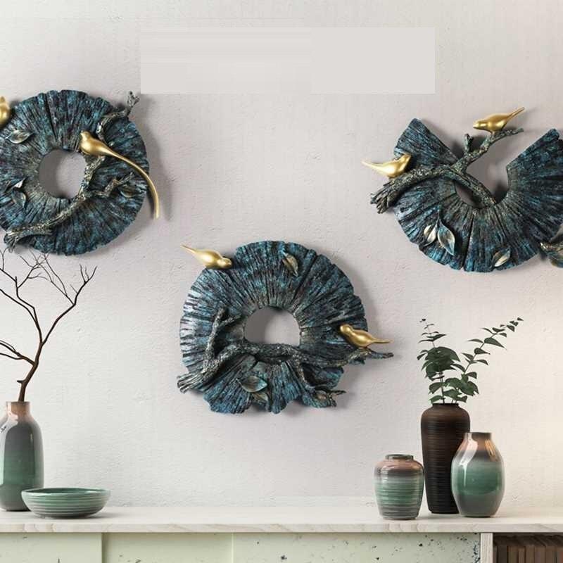 Креативные Круглые настенные украшения в виде животных птиц, 3D настенные подвесные украшения для дома, гостиной, фоновые настенные украшен...