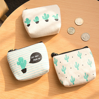 New 1Pc Small Cute Kids Women's Purse Coin Wallet Coin Purse 2018 Money Pouch Cactus Change Pouch Key Holder Bag стоимость