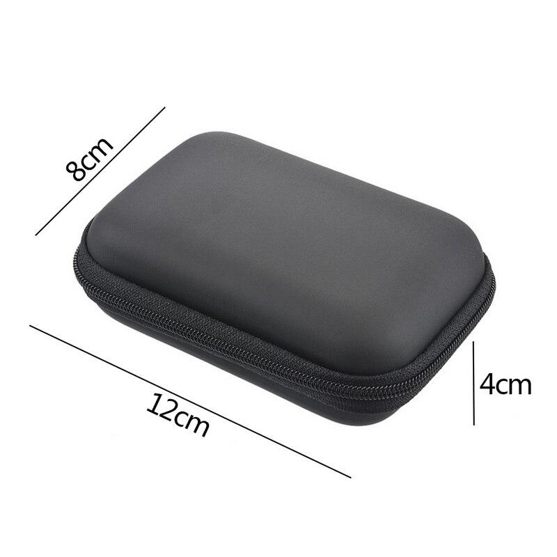 Чехол-контейнер для монет, наушников, защитная коробка для хранения, цветные наушники чехол для путешествий, сумка для хранения наушников, кабель для передачи данных, зарядное устройство - Цвет: Black 12x8cm