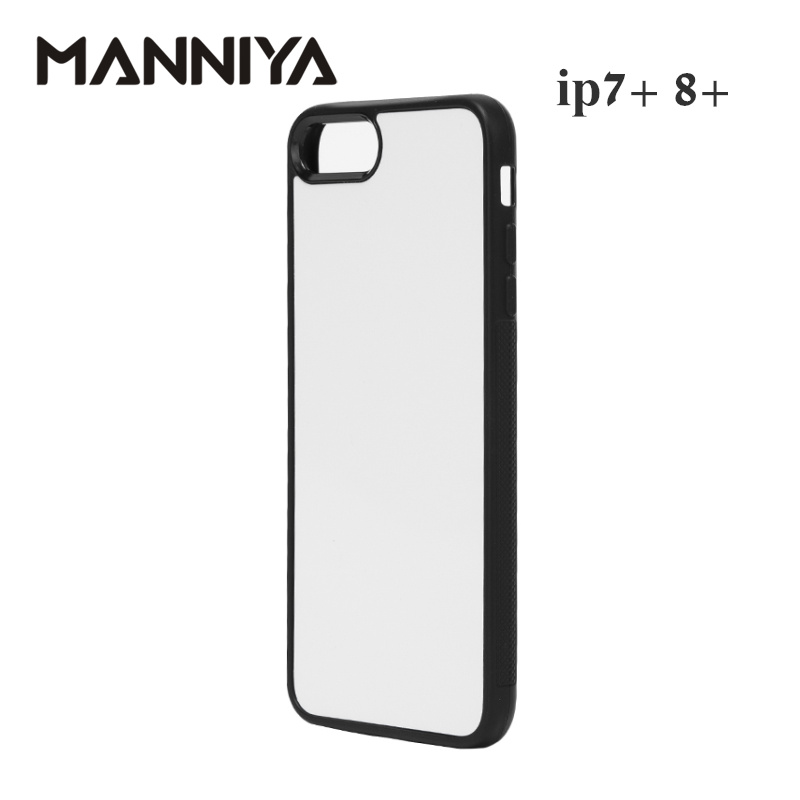 Image 2 - MANNIYA 2D Sublimation Blank rubber Case for iphone 7 plus 8 plus with Aluminum Inserts and glue Free Shipping! 100pcs/lot-in Half-wrapped Cases from Cellphones & Telecommunications