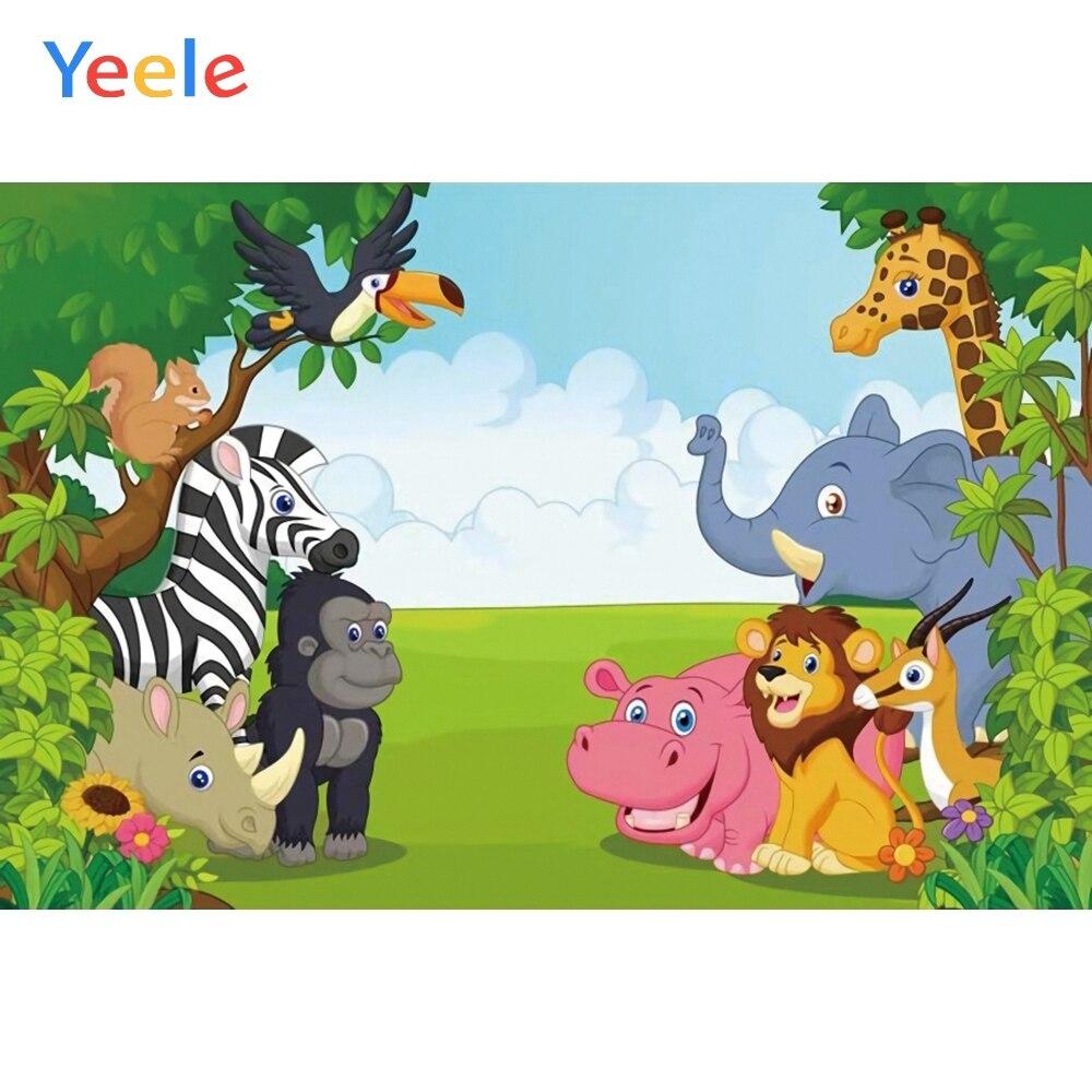 Yeele 10x8ft Animal Birthday Background for Photography Happy Birthday Party Decoration Cartoon Animal Lion Giraffe Elephant Princess Boy Girl Child Photo Backdrop Portrait Studio Props Wallpaper